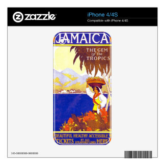 Jamaica Gem of the Tropics Vintage Travel Poster iPhone 4 Decal