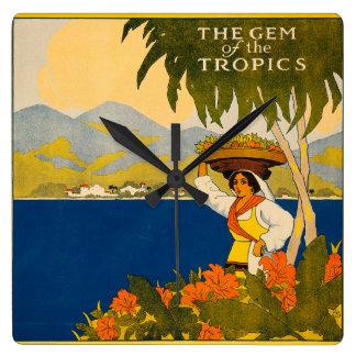 Jamaica, la gema de las zonas tropicales reloj cuadrado