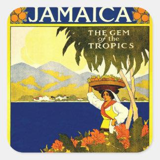 Jamaica la gema del poster 1910 del viaje de las pegatina cuadrada