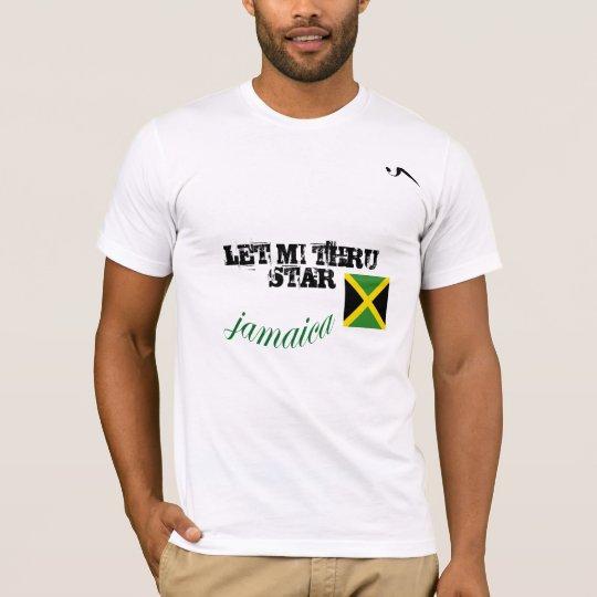 """Jamaica """"Let Mi Thru Star"""" White Tshirt"""