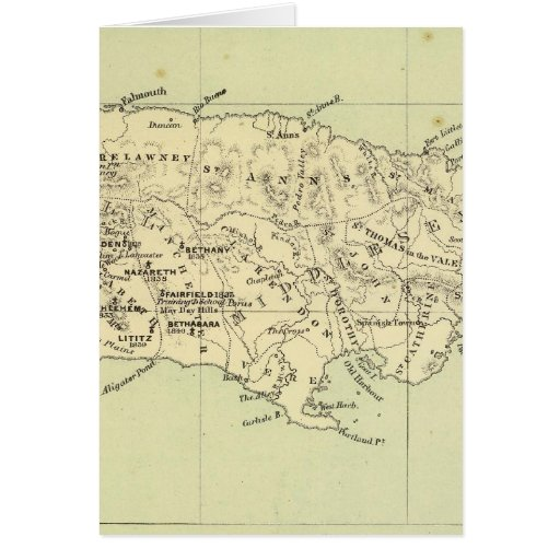 Jamaica Lithographed Map Greeting Cards