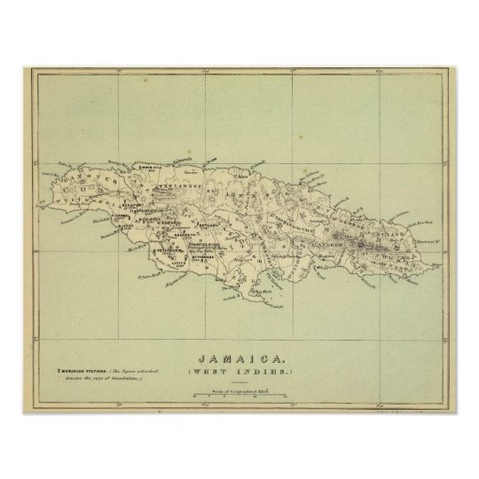 Jamaica Lithographed Map Poster