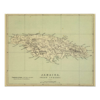 Jamaica Lithographed Map Print