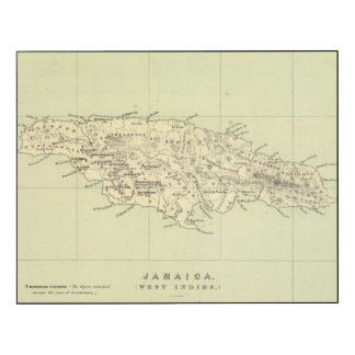 Jamaica litografió el mapa impresión en madera