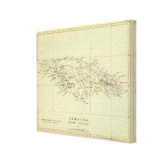 Jamaica litografió el mapa impresiones en lienzo estiradas