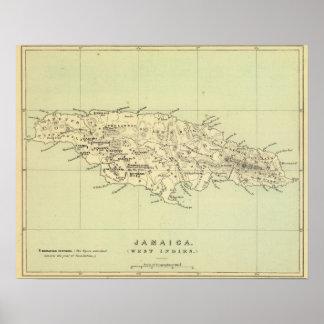 Jamaica litografió el mapa posters