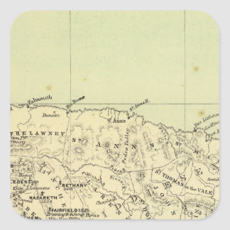 Jamaica litografió el mapa pegatina cuadrada