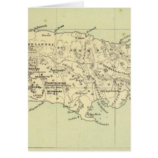 Jamaica litografió el mapa tarjeton