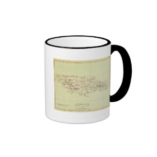 Jamaica litografió el mapa taza de café