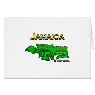 Jamaica Map (green-yellow-black) Greeting Card