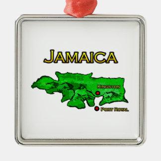 Jamaica Map (green-yellow-black) Christmas Ornament