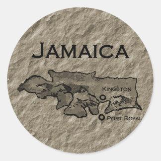 Jamaica Map (vintage) Classic Round Sticker