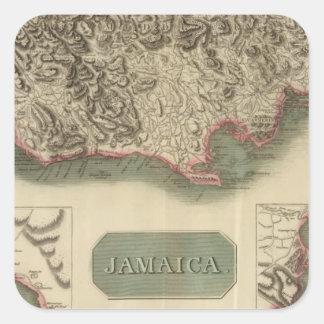 Jamaica Calcomanía Cuadradas Personalizadas