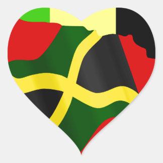 Jamaica Pegatina En Forma De Corazón