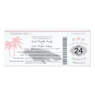 Jamaica Pink Gray Boarding Pass Wedding Card