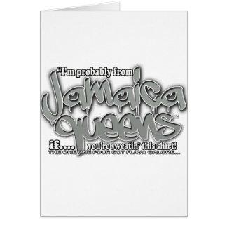 jamaica queens graffiti shirt (gray white font) card