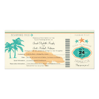 Jamaica Save the Date Boarding Pass 4x9.25 Paper Invitation Card