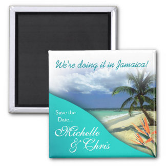 Jamaica Save The Date Emerald Waters Magnet Favor