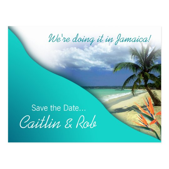 Jamaica Save The Date (emerald waters) Postcard