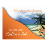 Jamaica Save The Date (papaya orange) Postcards