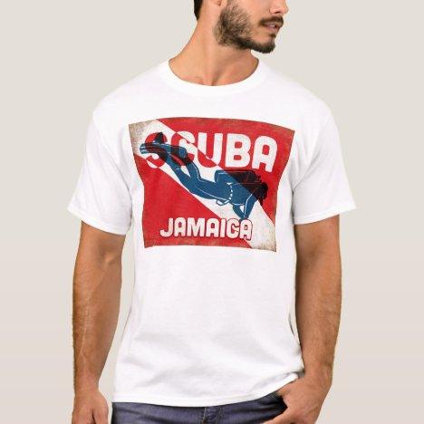 Jamaica Scuba Diver - Blue Retro T-Shirt