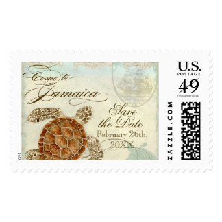 Jamaica Sea Turtle Modern Coastal Ocean Beach Postage