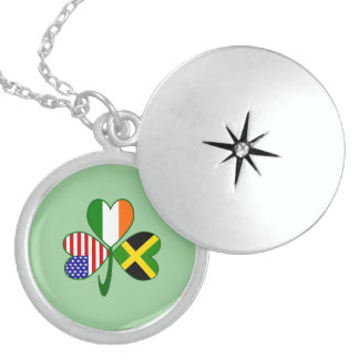 Jamaica Shamrock Green Background Sterling Silver Necklace