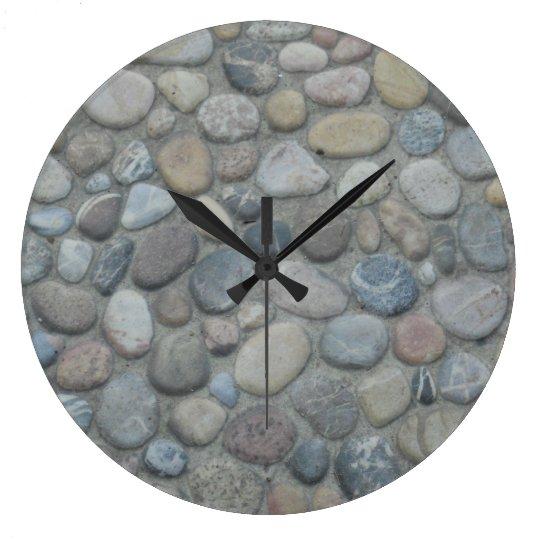 Jamaica Stones Pebbles Rocks Texture Pattern Photo Large Clock