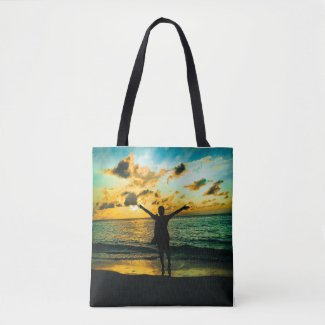 Jamaica Sunset: All-Over Print Tote Bag