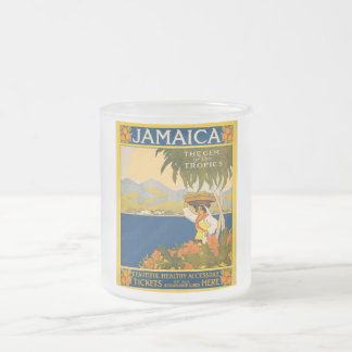 Jamaica, the gem of the tropics frosted glass coffee mug