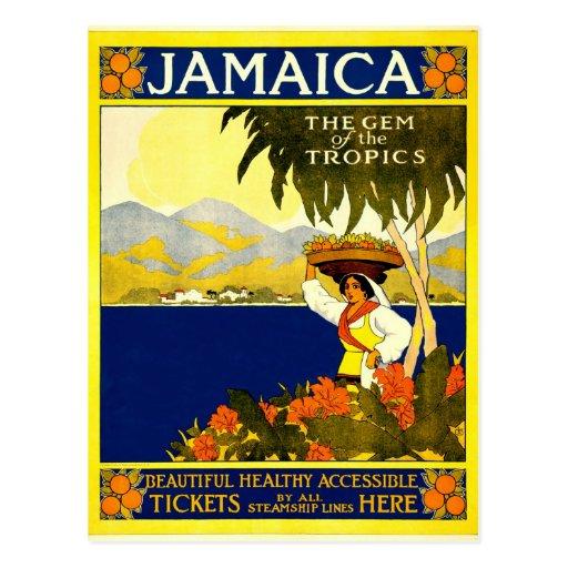 Jamaica the Gem of the Tropics Travel Poster 1910 Postcard