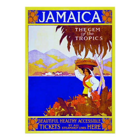 Jamaica ~ Vintage Travel Canvas. Poster