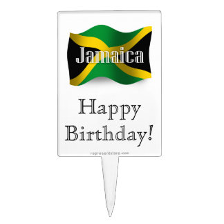Jamaica Waving Flag Cake Pick