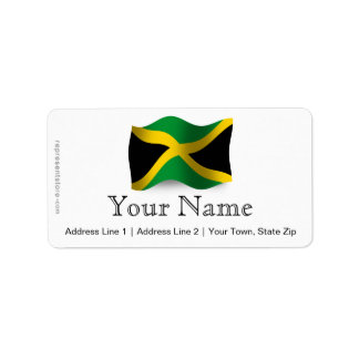 Jamaica Waving Flag Label