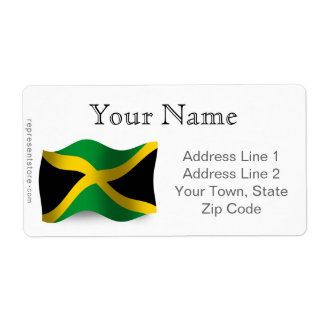 Jamaica Waving Flag Shipping Label