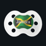 "Jamaica Waving Flag Pacifier<br><div class=""desc"">Represent Jamaica! This item features a wavy Jamaican flag in 3D. Do you know a Jamaican or Jamaican-American who misses their home country and culture and would like to be patriotic about their nation? Travellers to the Caribbean, Jamaican-Americans, or Jamaicans themselves will love to show their heritage and national pride....</div>"