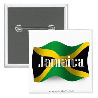 Jamaica Waving Flag Pinback Button