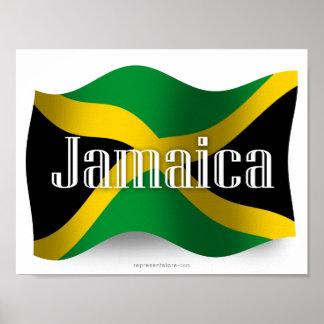 Jamaica Waving Flag Poster