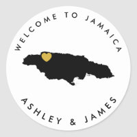 Jamaica Wedding Welcome Sticker for Box, Bag