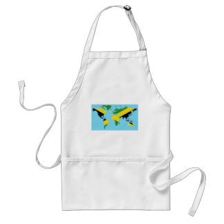 Jamaica World - Jamaican Flag Map of World Adult Apron