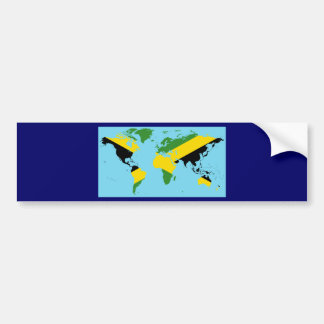 Jamaica World - Jamaican Flag Map of World Bumper Sticker