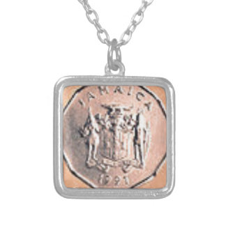 Jamaican 1 Cent Coin Silver Plated Necklace