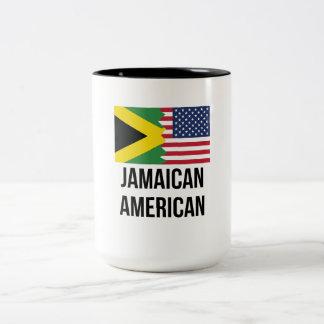 Jamaican American Flag Two-Tone Coffee Mug