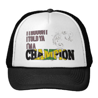 Jamaican and a Champion Mesh Hat