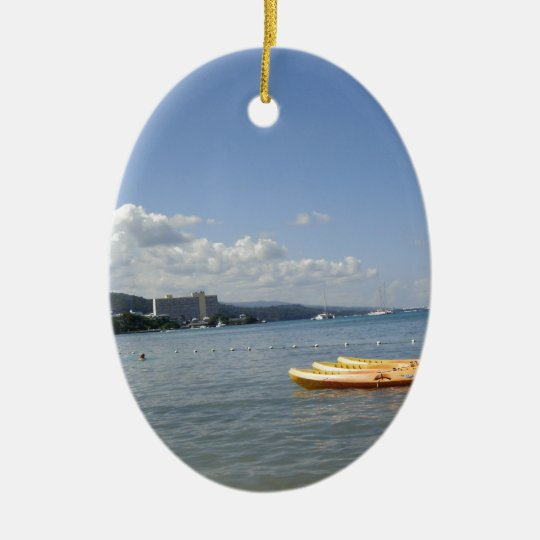 Jamaican Beach with boat Ceramic Ornament