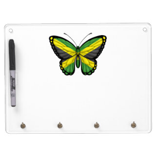 Jamaican Butterfly Flag Dry Erase Board With Keychain Holder