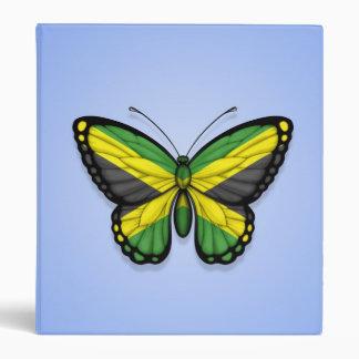 Jamaican Butterfly Flag on Blue Vinyl Binder