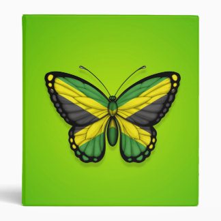 Jamaican Butterfly Flag on Green 3 Ring Binders