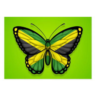 Jamaican Butterfly Flag on Green Business Cards