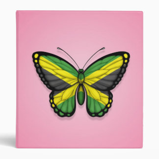 Jamaican Butterfly Flag on Pink Binders